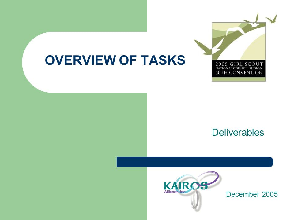 OVERVIEW OF TASKS Deliverables December 2005