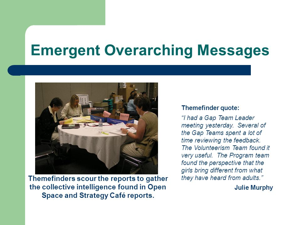 Emergent Overarching Messages Themefinders scour the reports to gather the collective intelligence found in Open Space and Strategy Café reports.