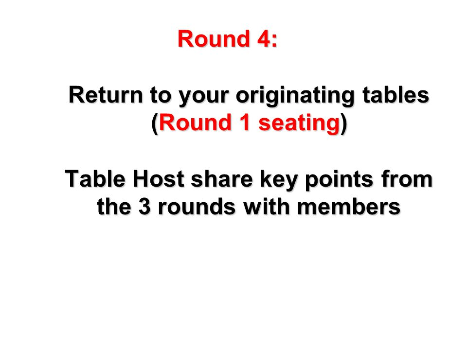Table Host remain at your table others move to your originating table