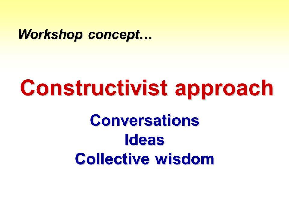 Constructivist approach Conversations Ideas Collective wisdom Workshop concept…