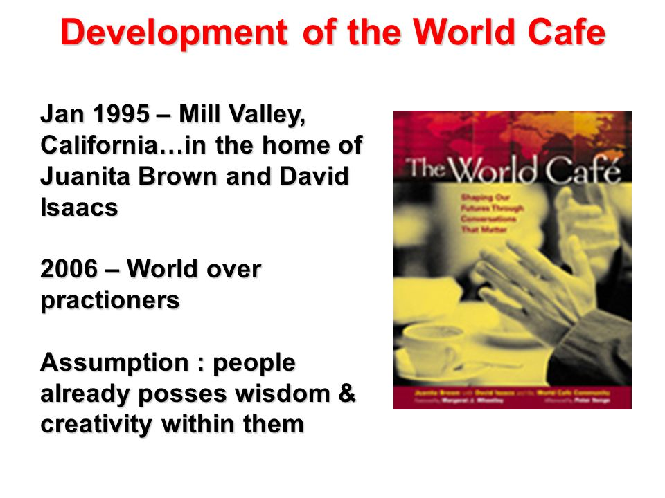 Development of the World Cafe Jan 1995 – Mill Valley, California…in the home of Juanita Brown and David Isaacs 2006 – World over practioners Assumption : people already posses wisdom & creativity within them