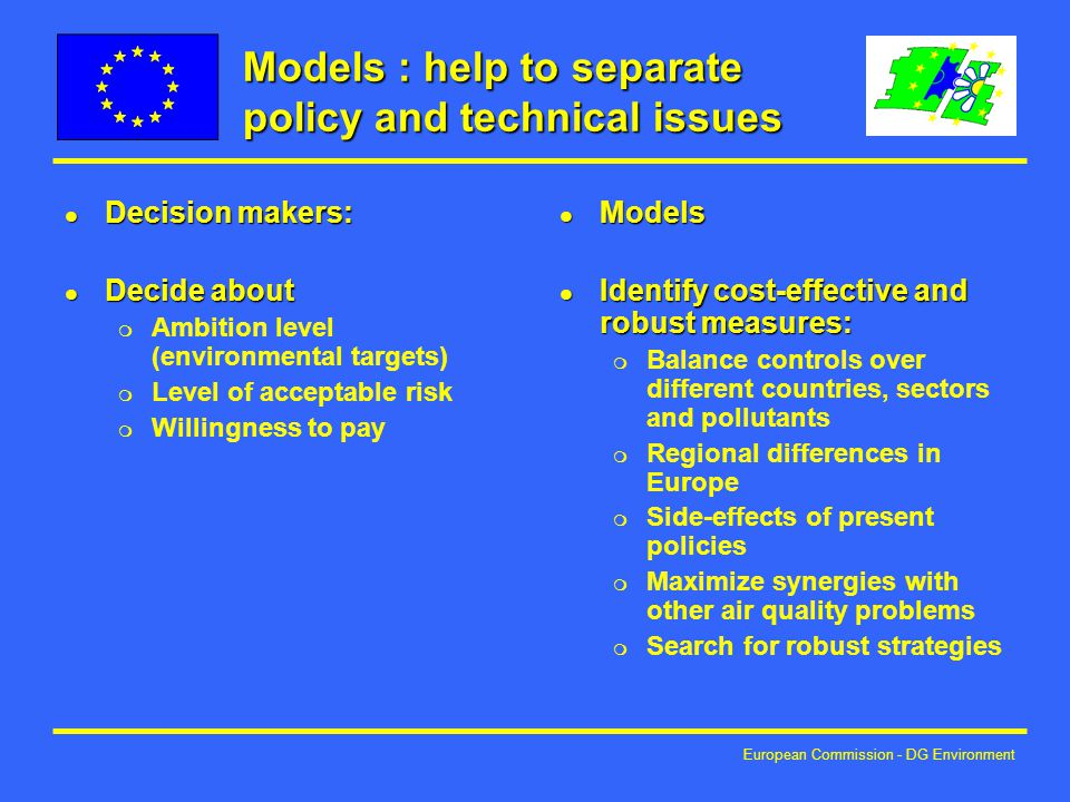 European Commission - DG Environment Models : help to separate policy and technical issues l Decision makers: l Decide about m Ambition level (environmental targets) m Level of acceptable risk m Willingness to pay l Models l Identify cost-effective and robust measures: m Balance controls over different countries, sectors and pollutants m Regional differences in Europe m Side-effects of present policies m Maximize synergies with other air quality problems m Search for robust strategies
