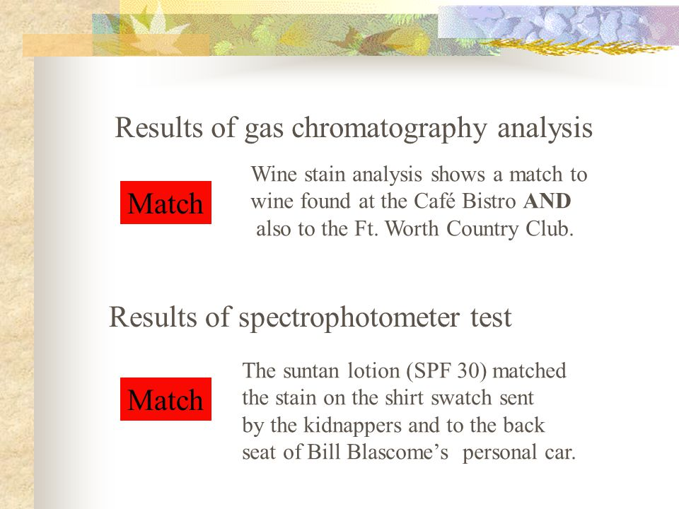 Match Results of spectrophotometer test Results of gas chromatography analysis Match Wine stain analysis shows a match to wine found at the Café Bistr