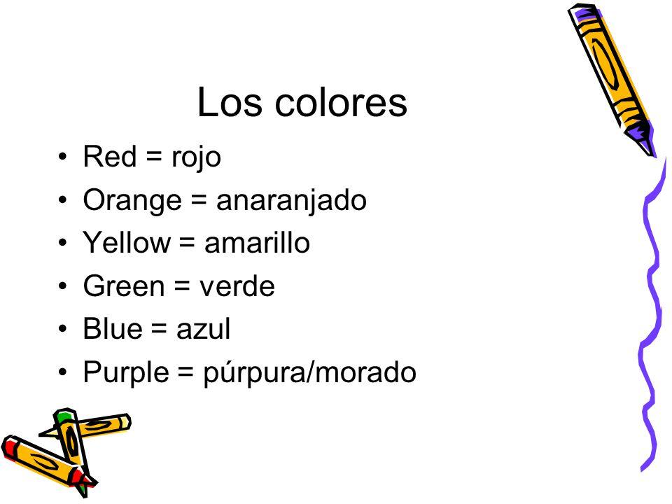 Los colores Red = rojo Orange = anaranjado Yellow = amarillo Green = verde Blue = azul Purple = púrpura/morado