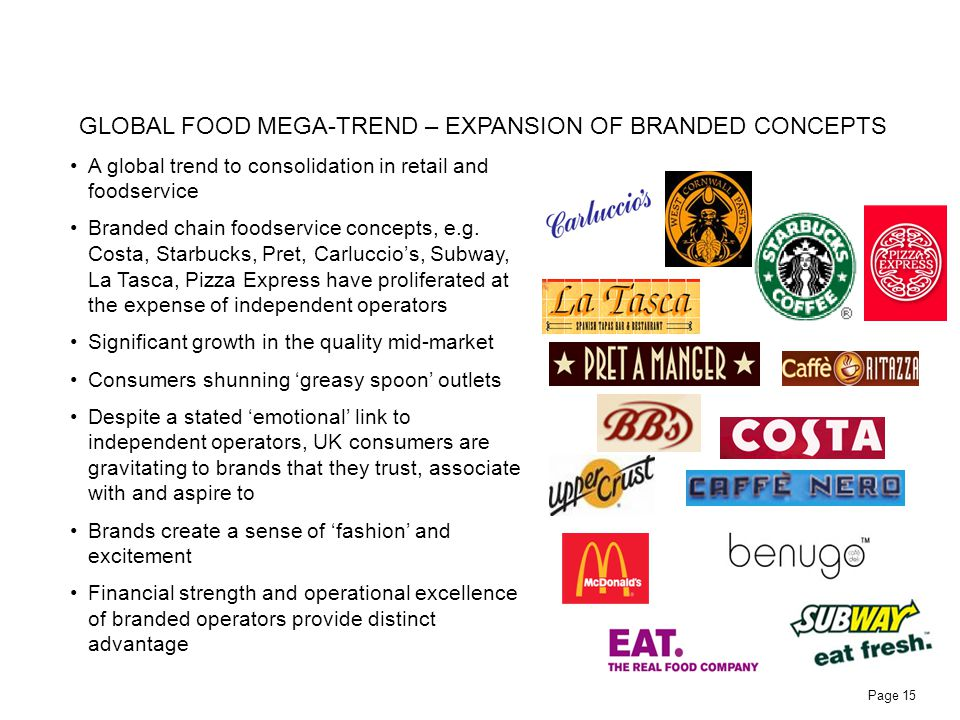 Page 15 A global trend to consolidation in retail and foodservice Branded chain foodservice concepts, e.g. Costa, Starbucks, Pret, Carluccios, Subway,