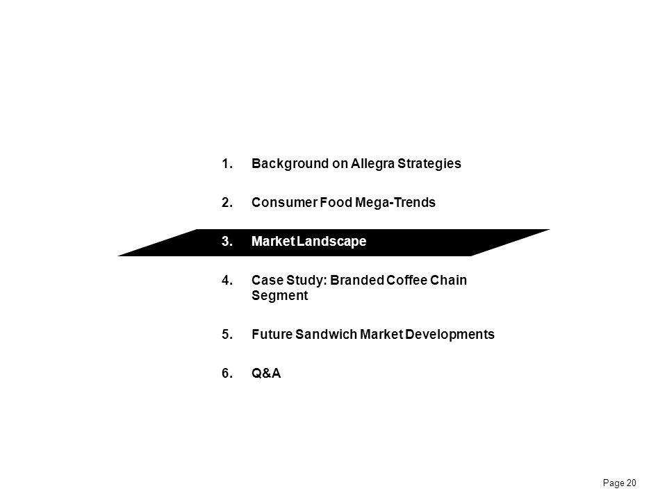 Page 20 1.Background on Allegra Strategies 2.Consumer Food Mega-Trends 3.Market Landscape 4.Case Study: Branded Coffee Chain Segment 5.Future Sandwich