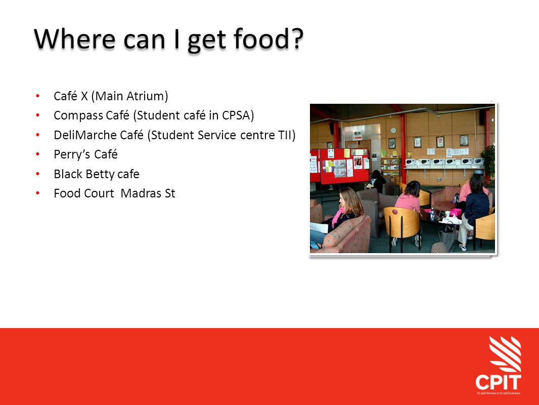 Student Services Where can I get food.