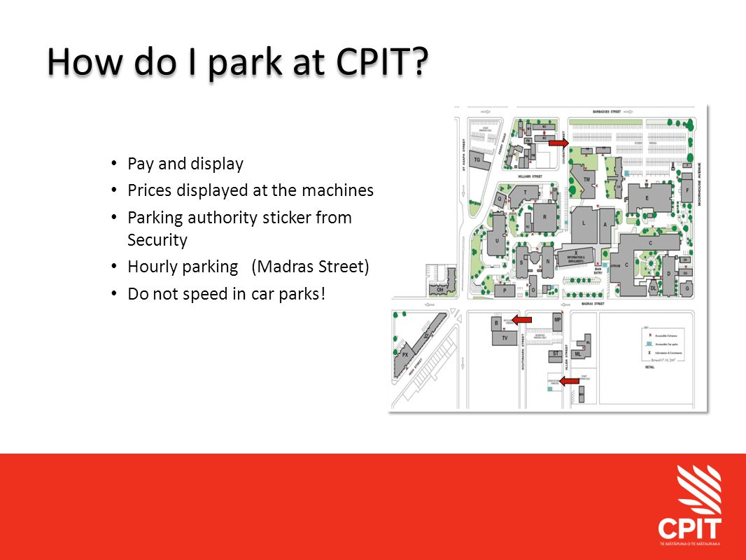 Student Services How do I park at CPIT.