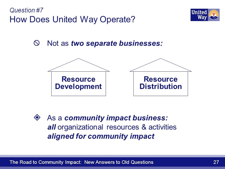 The Road to Community Impact: New Answers to Old Questions 27 Question #7 How Does United Way Operate.