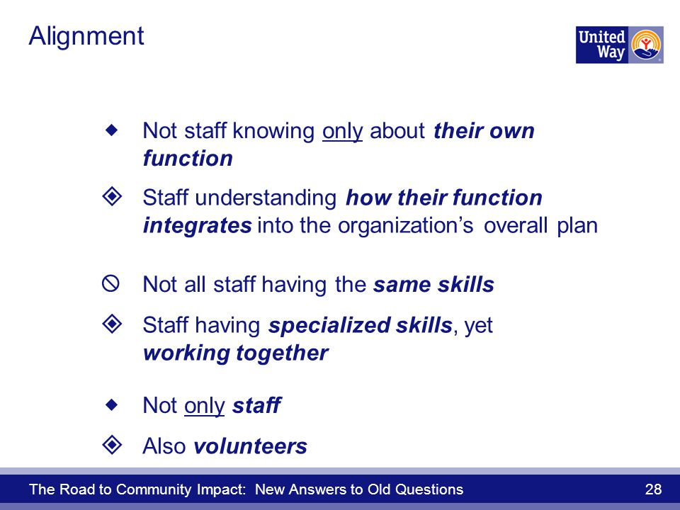 The Road to Community Impact: New Answers to Old Questions 28 Alignment Also volunteers Not only staff Not staff knowing only about their own function Staff understanding how their function integrates into the organizations overall plan Not all staff having the same skills Staff having specialized skills, yet working together