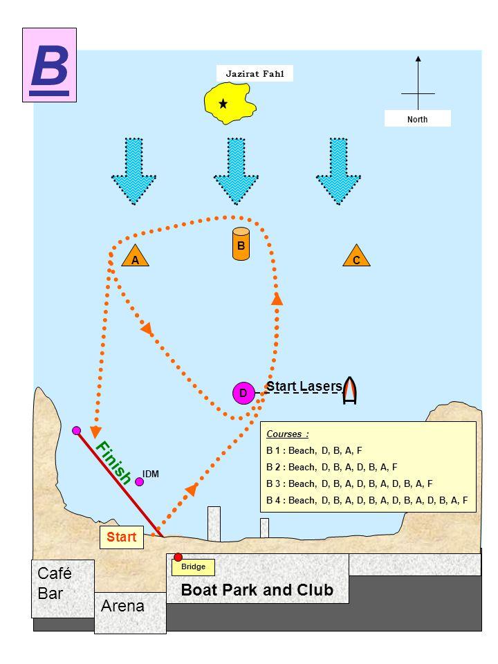 Arena Café Bar Jazirat Fahl Start / Finish North Boat Park and Club Bridge D A B Start C Finish IDM B Courses : B 1 : Beach, D, B, A, F B 2 : Beach, D, B, A, D, B, A, F B 3 : Beach, D, B, A, D, B, A, D, B, A, F B 4 : Beach, D, B, A, D, B, A, D, B, A, D, B, A, F Start Lasers
