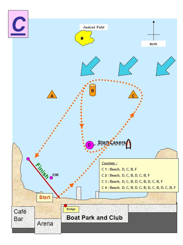Arena Café Bar Jazirat Fahl Start / Finish North Boat Park and Club Bridge D A B Start C Finish IDM Courses : C 1 : Beach, D, C, B, F C 2 : Beach, D, C, B, D, C, B, F C 3 : Beach, D, C, B, D, C, B, D, C, B, F C 4 : Beach, D, C, B, D, C, B, D, C, B, D, C, B, F C Start Lasers