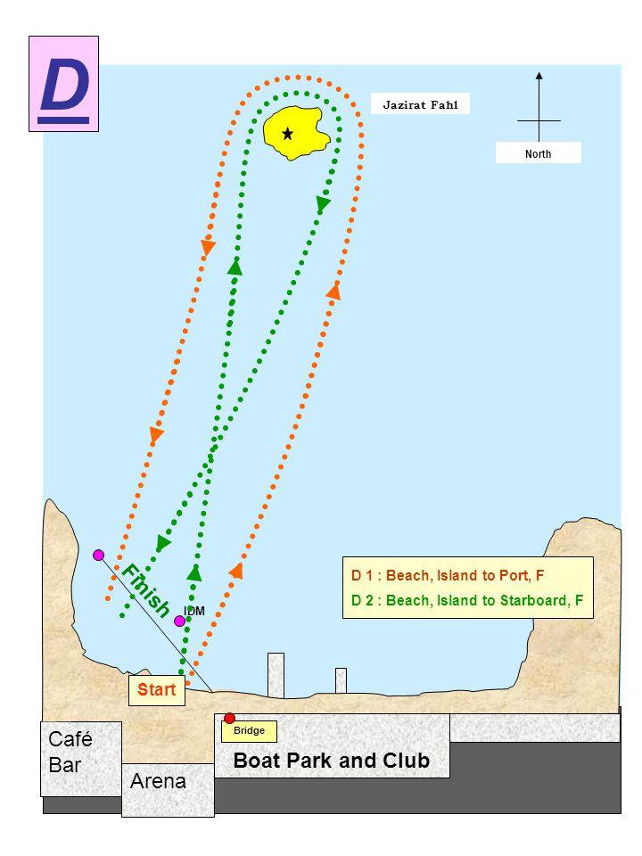 Arena Café Bar Jazirat Fahl Start / Finish North Boat Park and Club Bridge Start Finish IDM D 1 : Beach, Island to Port, F D 2 : Beach, Island to Starboard, F D