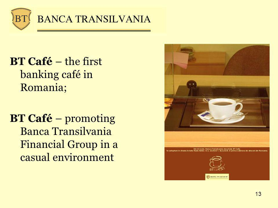 13 BT Café – the first banking café in Romania; BT Café – promoting Banca Transilvania Financial Group in a casual environment