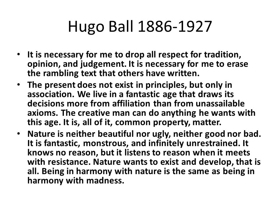 Hugo Ball Flight Out of Time
