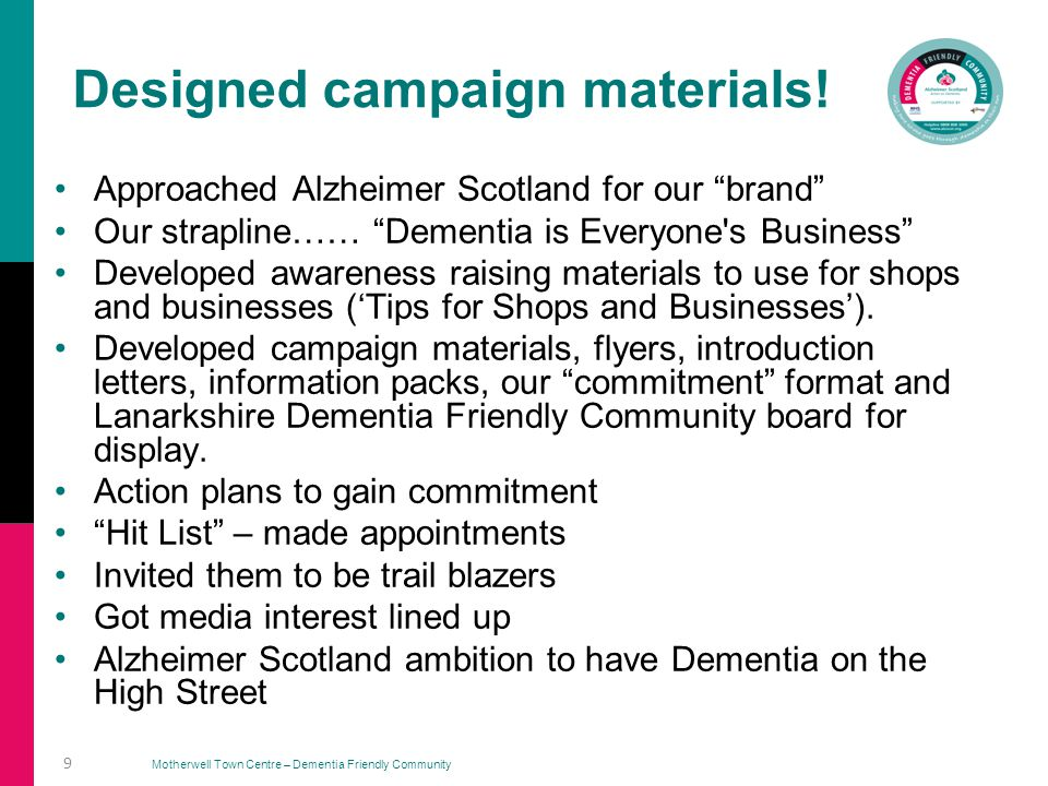 Motherwell Town Centre – Dementia Friendly Community Our Flyer……………..