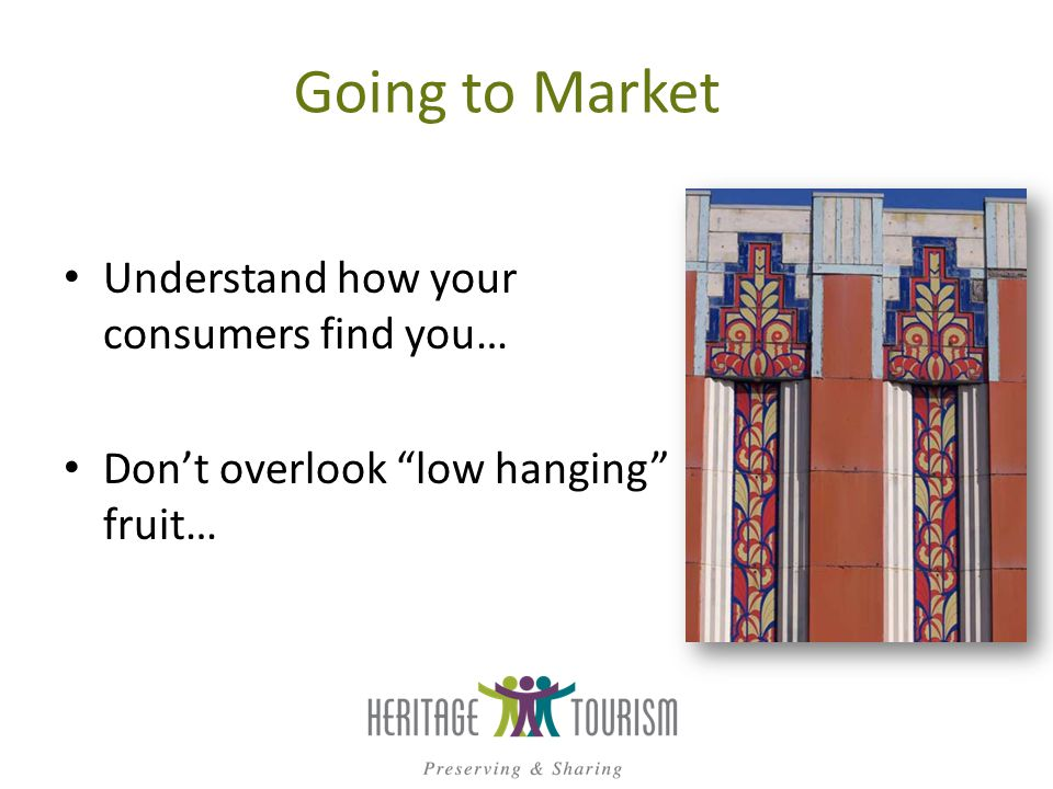 Going to Market Understand how your consumers find you… Dont overlook low hanging fruit…