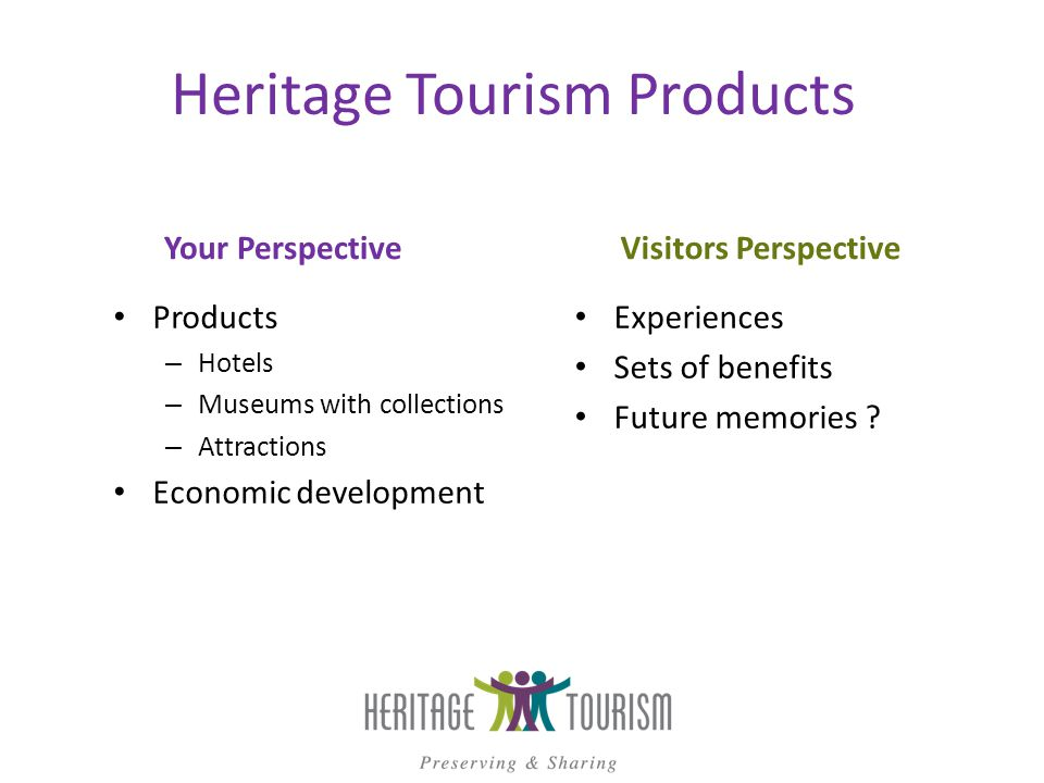 Heritage Tourism Products Your Perspective Products – Hotels – Museums with collections – Attractions Economic development Visitors Perspective Experiences Sets of benefits Future memories