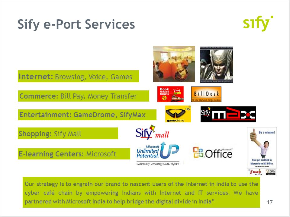 17 Sify e-Port Services Shopping: Sify Mall Internet: Browsing, Voice, Games Entertainment: GameDrome, SifyMax Commerce: Bill Pay, Money Transfer Our strategy is to engrain our brand to nascent users of the Internet in India to use the cyber café chain by empowering Indians with Internet and IT services.