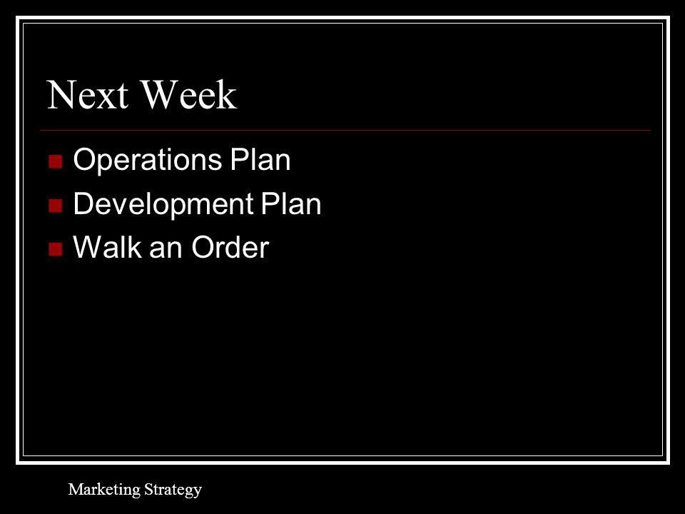 Next Week Operations Plan Development Plan Walk an Order Marketing Strategy