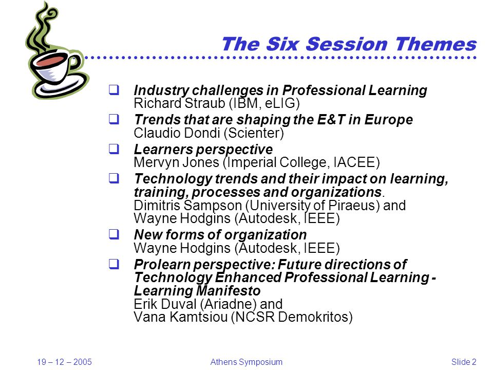 19 – 12 – 2005Athens SymposiumSlide 13 Dietmar Albrecht - VW Coaching, Germany