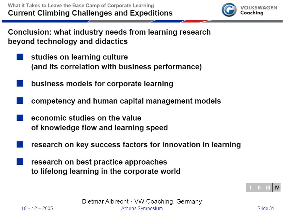 19 – 12 – 2005Athens SymposiumSlide 31 Dietmar Albrecht - VW Coaching, Germany