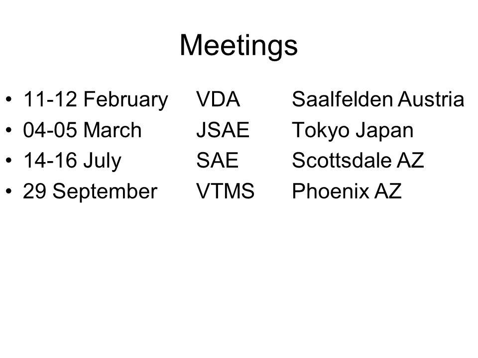 Meetings 11-12 FebruaryVDASaalfelden Austria 04-05 MarchJSAETokyo Japan 14-16 JulySAEScottsdale AZ 29 SeptemberVTMSPhoenix AZ