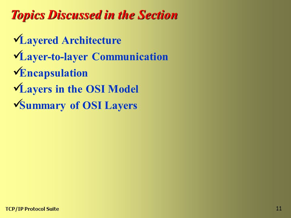 TCP/IP Protocol Suite 11 Topics Discussed in the Section Layered Architecture Layer-to-layer Communication Encapsulation Layers in the OSI Model Summary of OSI Layers