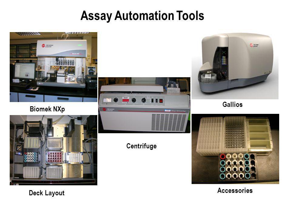 Biomek NXp Accessories Deck Layout Centrifuge Gallios Assay Automation Tools