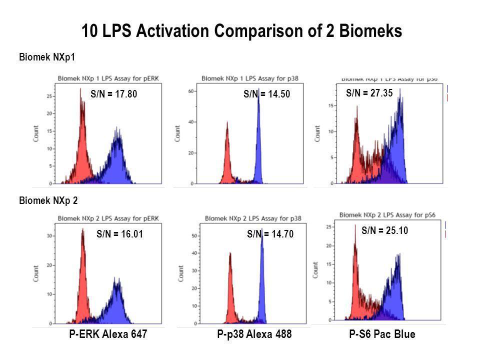 Biomek NXp 2 Biomek NXp1 S/N = 25.10 S/N = 14.70S/N = 16.01S/N = 17.80 S/N = 27.35 S/N = 14.50 P-ERK Alexa 647P-S6 Pac BlueP-p38 Alexa 488 10 LPS Activation Comparison of 2 Biomeks