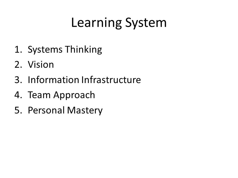 Learning System 1.Systems Thinking 2.Vision 3.Information Infrastructure 4.Team Approach 5.Personal Mastery