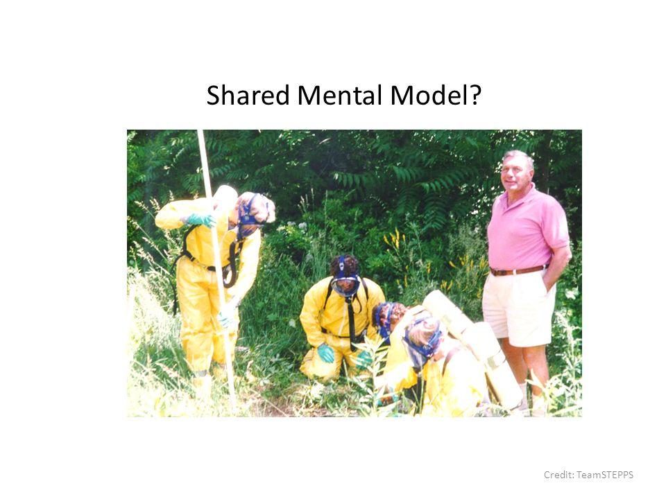 Shared Mental Model? Credit: TeamSTEPPS