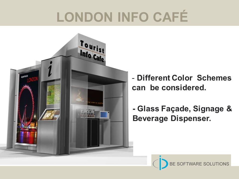 LONDON INFO CAFÉ - Glass Façade, Signage & Beverage Dispenser. - Different Color Schemes can be considered.