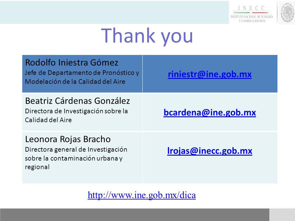 Thank you http://www.ine.gob.mx/dica Rodolfo Iniestra Gómez Jefe de Departamento de Pronóstico y Modelación de la Calidad del Aire riniestr@ine.gob.mx