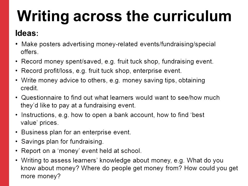Writing across the curriculum Ideas : Make posters advertising money-related events/fundraising/special offers. Record money spent/saved, e.g. fruit t