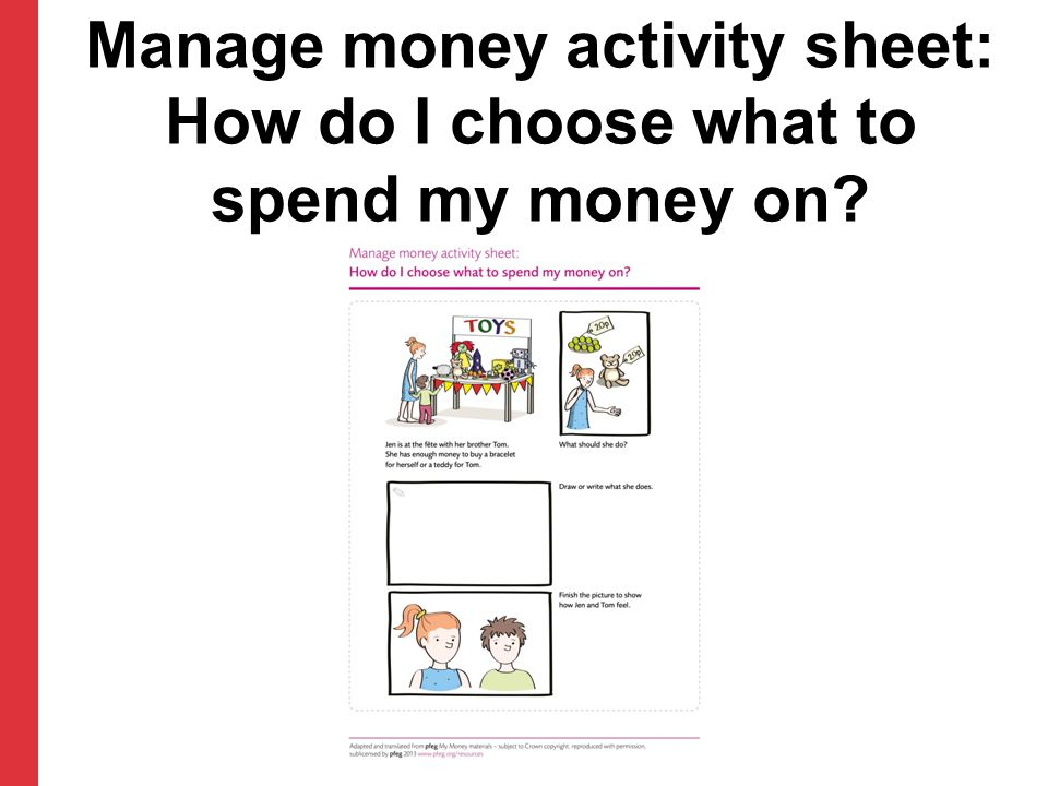 Manage money activity sheet: How do I choose what to spend my money on?