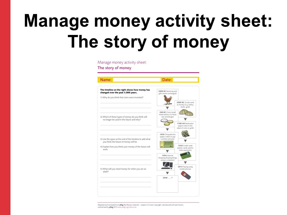 Manage money activity sheet: The story of money