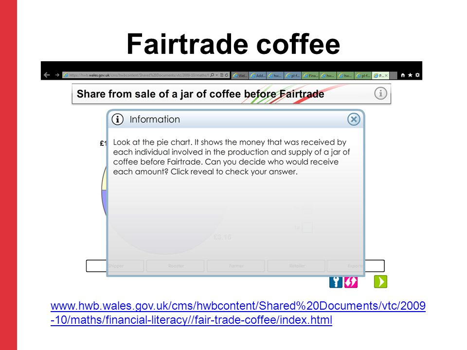 Fairtrade coffee www.hwb.wales.gov.uk/cms/hwbcontent/Shared%20Documents/vtc/2009 -10/maths/financial-literacy//fair-trade-coffee/index.html