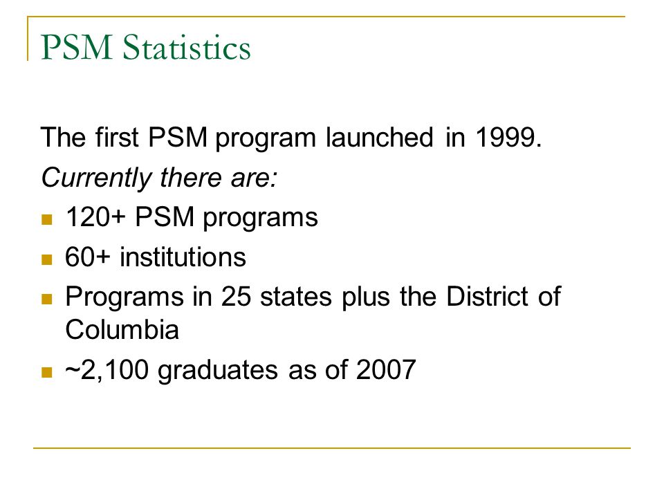 PSM Statistics The first PSM program launched in 1999.