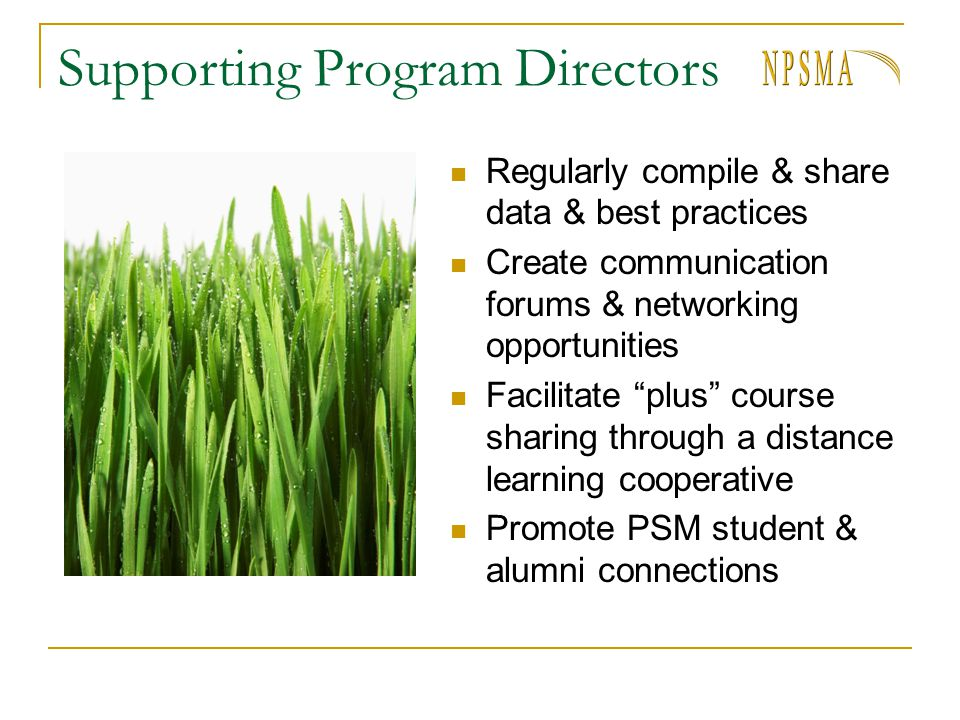 Supporting Program Directors Regularly compile & share data & best practices Create communication forums & networking opportunities Facilitate plus co