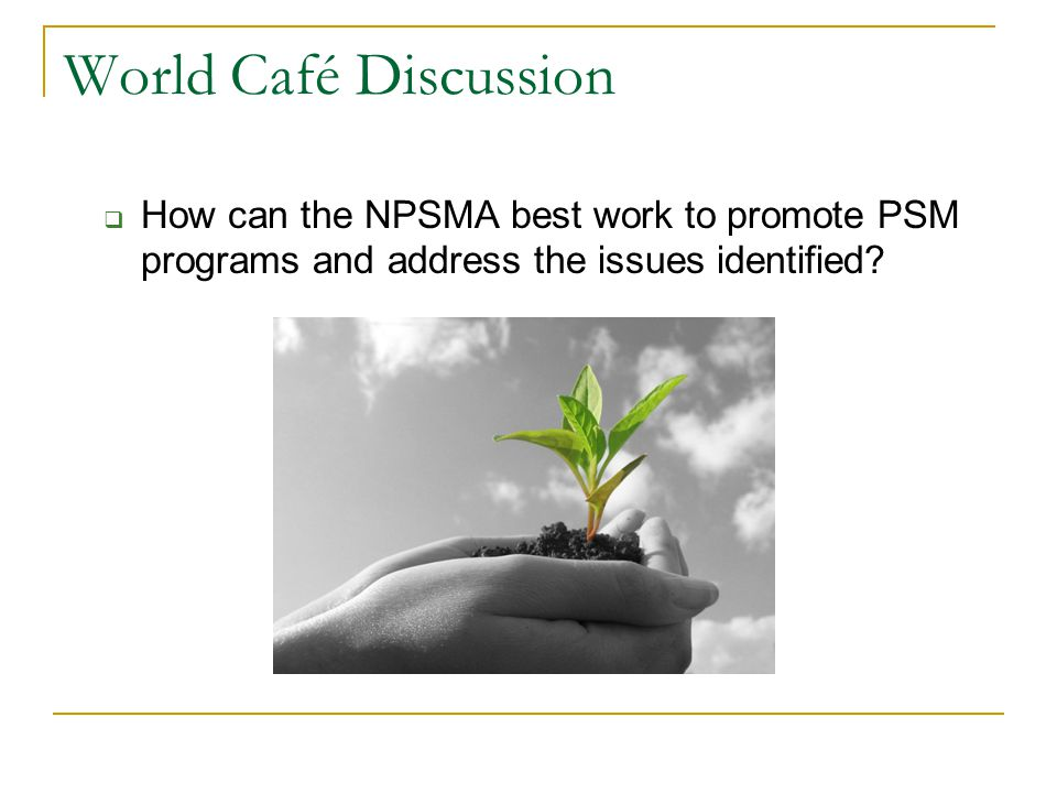 World Café Discussion How can the NPSMA best work to promote PSM programs and address the issues identified?
