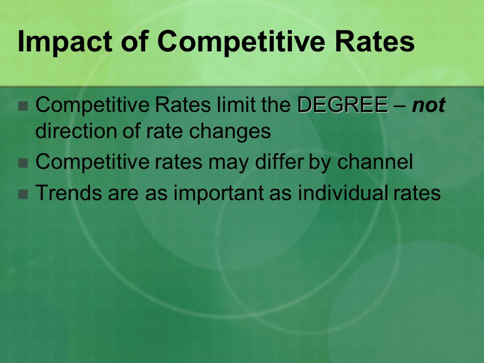 Impact of Competitive Rates DEGREE Competitive Rates limit the DEGREE – not direction of rate changes Competitive rates may differ by channel Trends are as important as individual rates