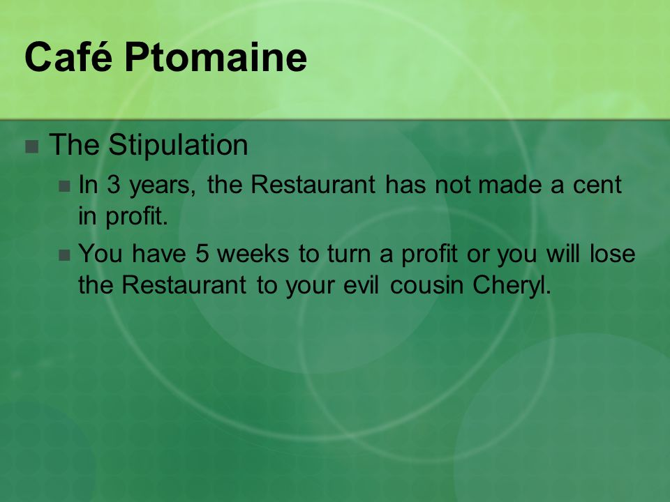 Café Ptomaine The Stipulation In 3 years, the Restaurant has not made a cent in profit.