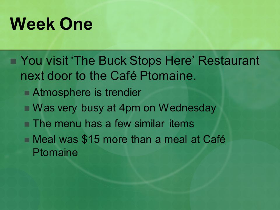 Week One You visit The Buck Stops Here Restaurant next door to the Café Ptomaine.