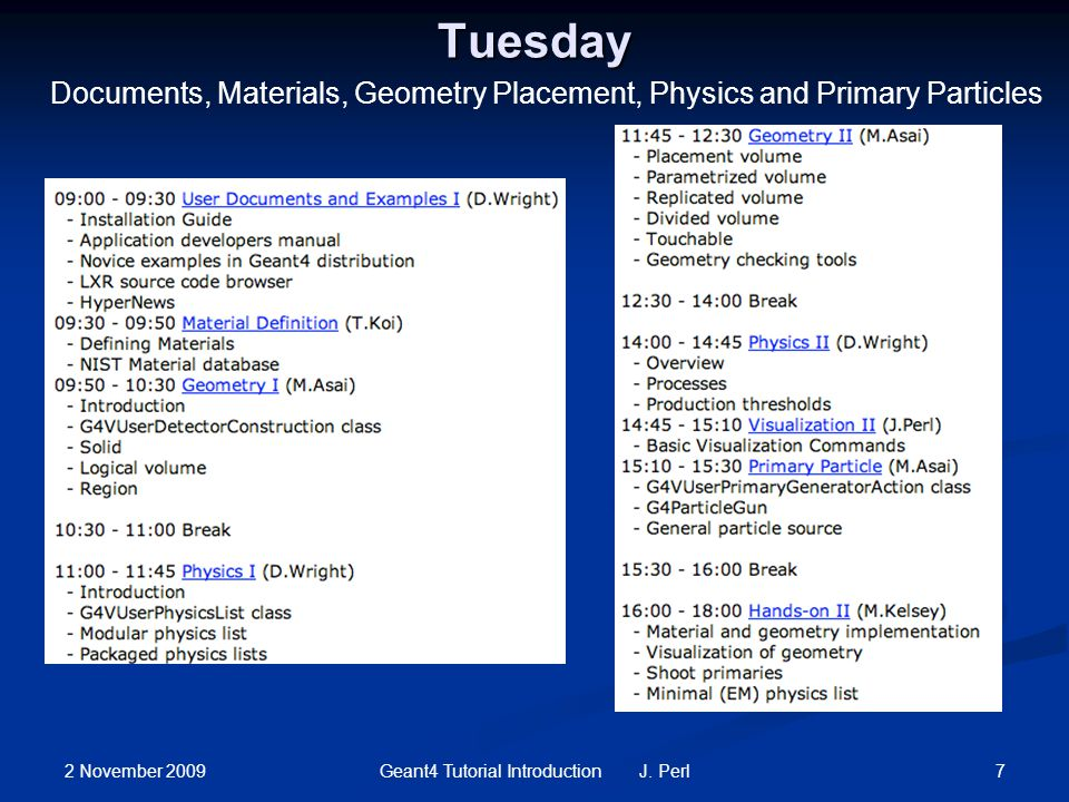 2 November 2009 7Geant4 Tutorial Introduction J. Perl Tuesday Documents, Materials, Geometry Placement, Physics and Primary Particles