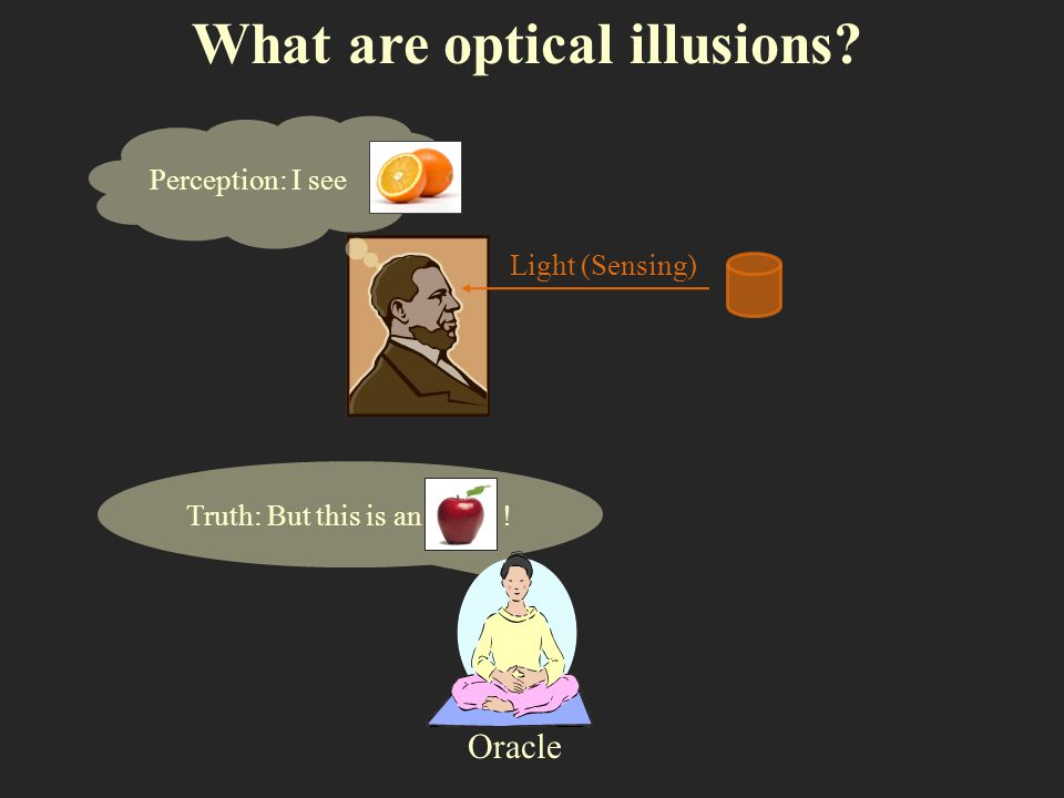 Truth: But this is an ! What are optical illusions? Light (Sensing) Oracle Perception: I see