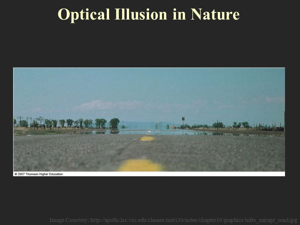 Optical Illusion in Nature Image Courtesy: http://apollo.lsc.vsc.edu/classes/met130/notes/chapter19/graphics/infer_mirage_road.jpg