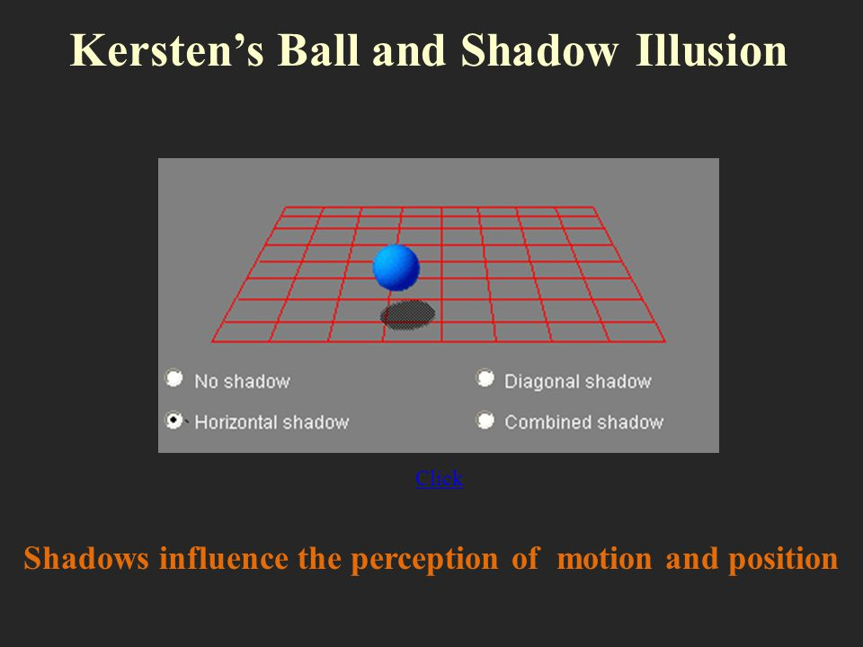Click Kerstens Ball and Shadow Illusion Shadows influence the perception of motion and position