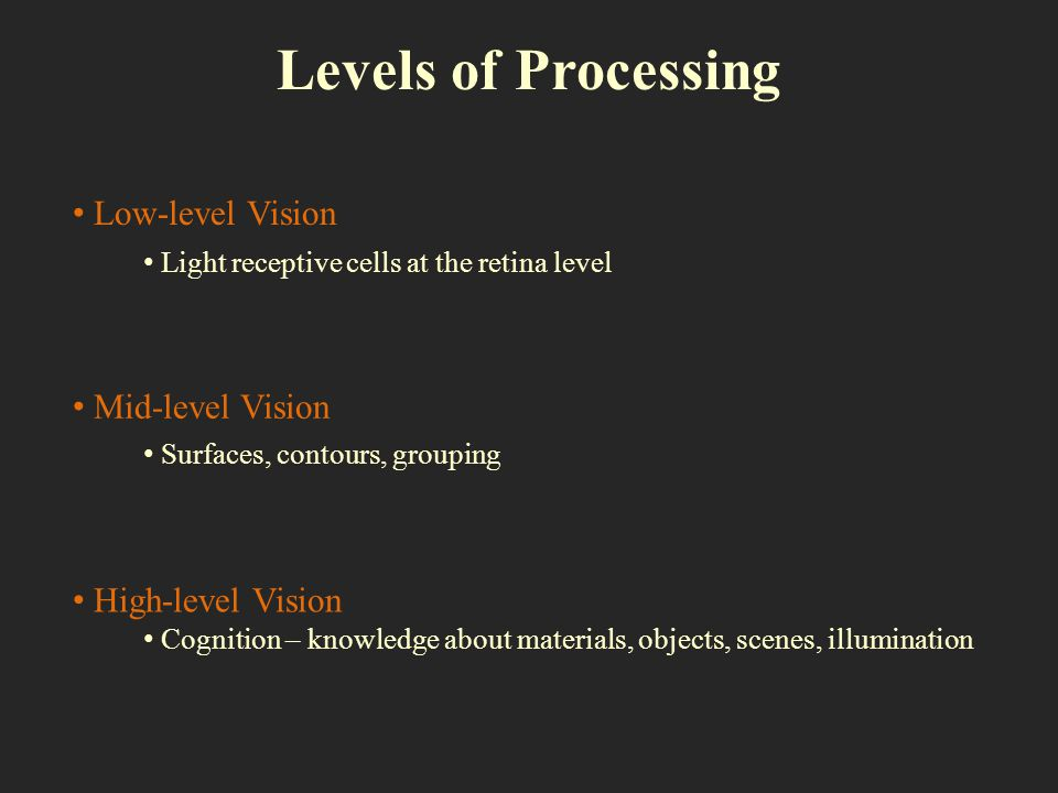 Levels of Processing Low-level Vision Mid-level Vision High-level Vision Light receptive cells at the retina level Surfaces, contours, grouping Cognit