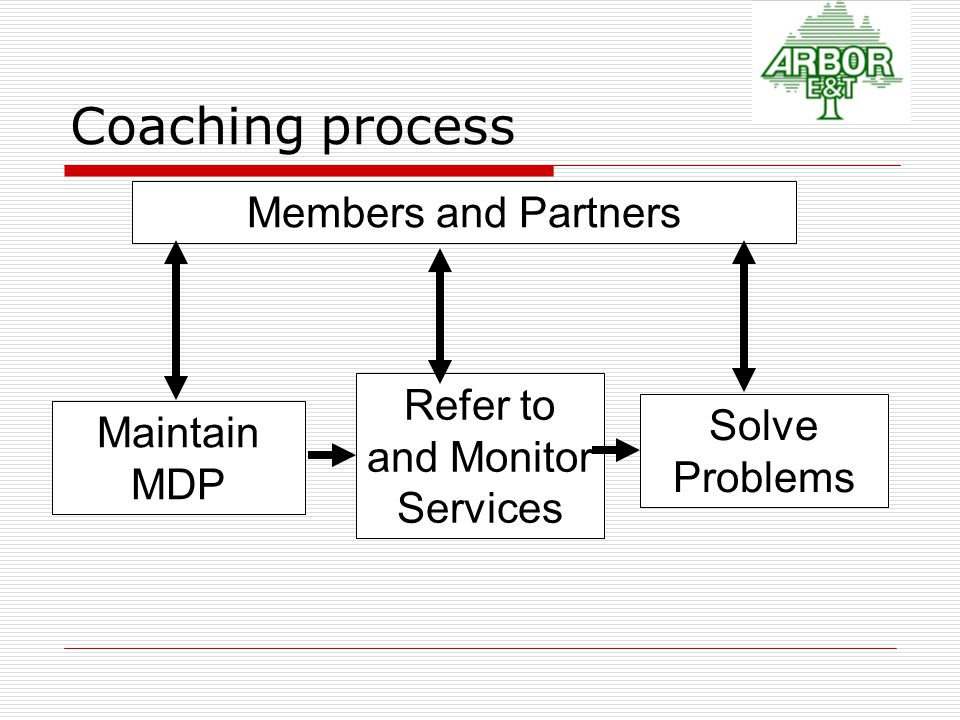 Maintain MDP Refer to and Monitor Services Members and Partners Solve Problems Coaching process